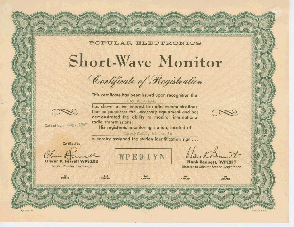WPE9IYN Shortwave Certificate