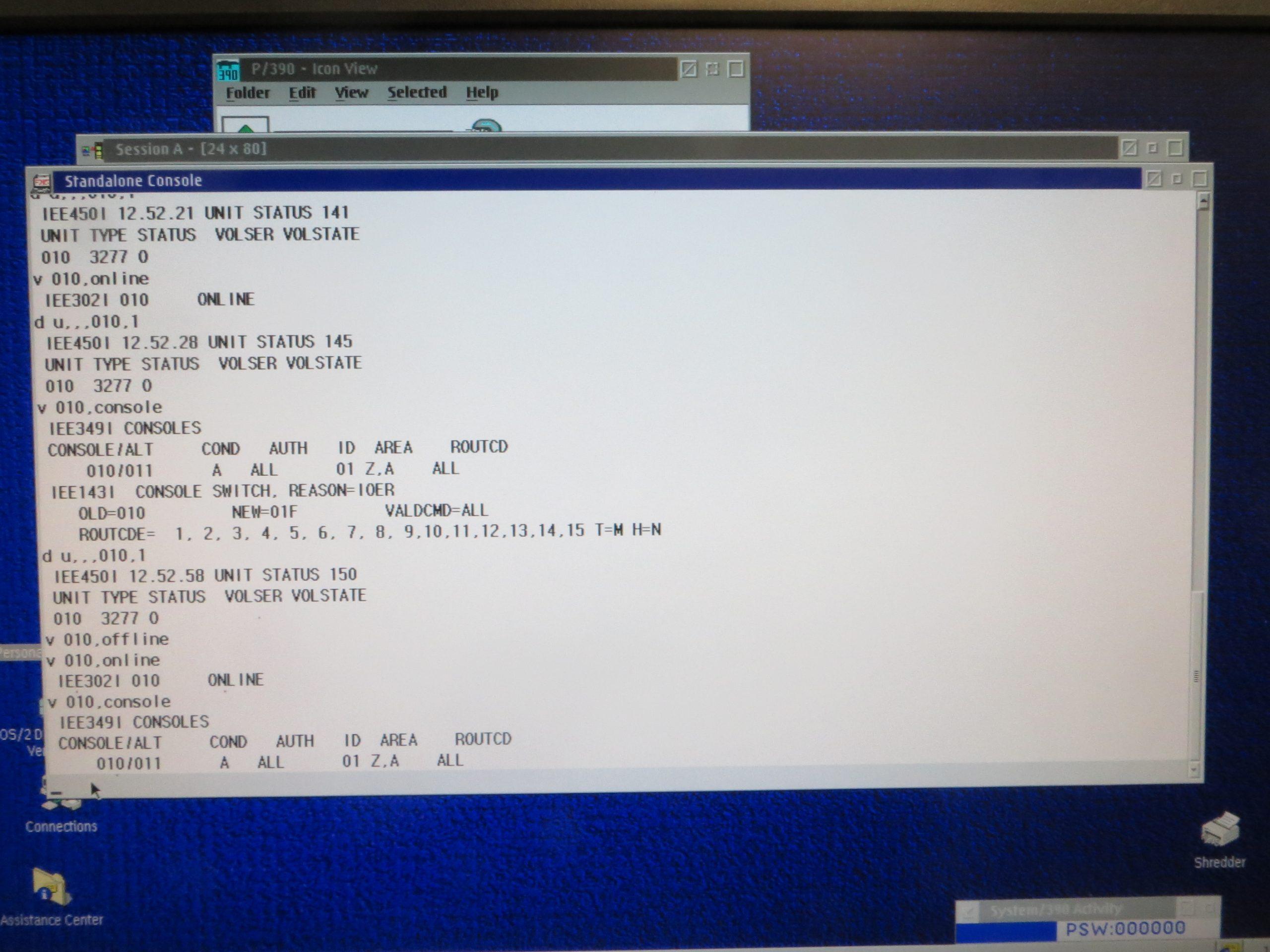 AMD 1.33 GHz Athlon PC P/390E MVS 3.8j Switch to 3270 Console