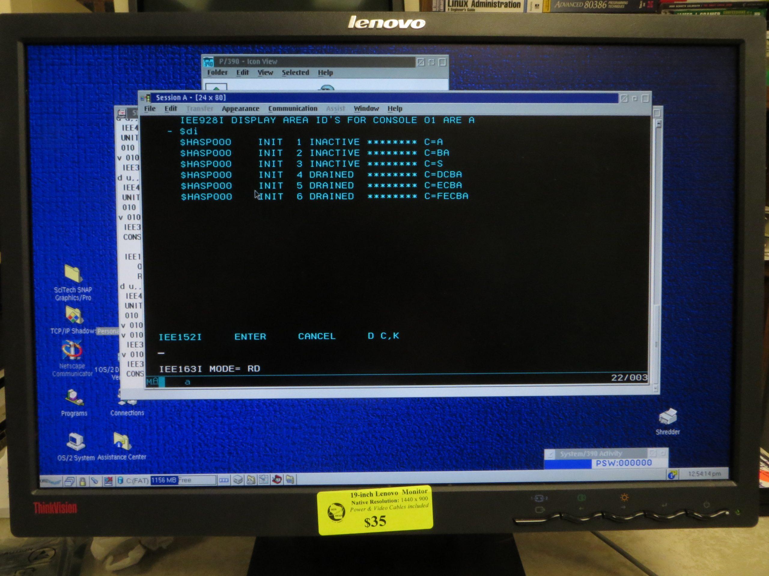 AMD 1.33 GHz Athlon PC P/390E MVS 3.8j 3270 Console