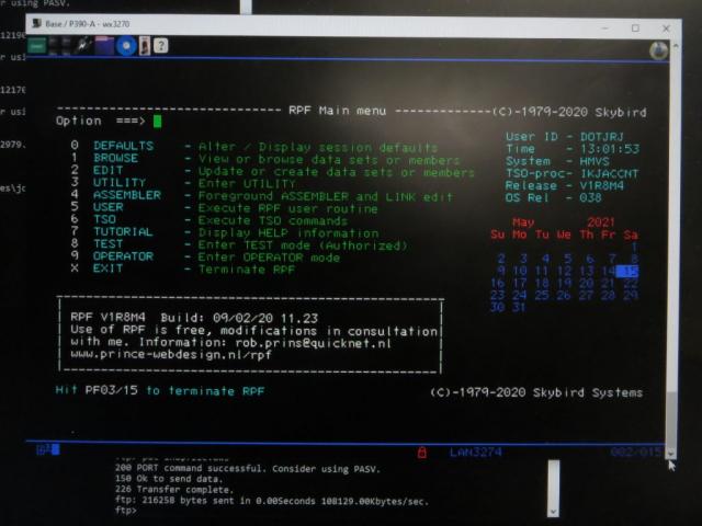AMD 1.33 GHz Athlon PC IBM P/390E MVS 3.8j TSO with RPF on Windows 10 PC