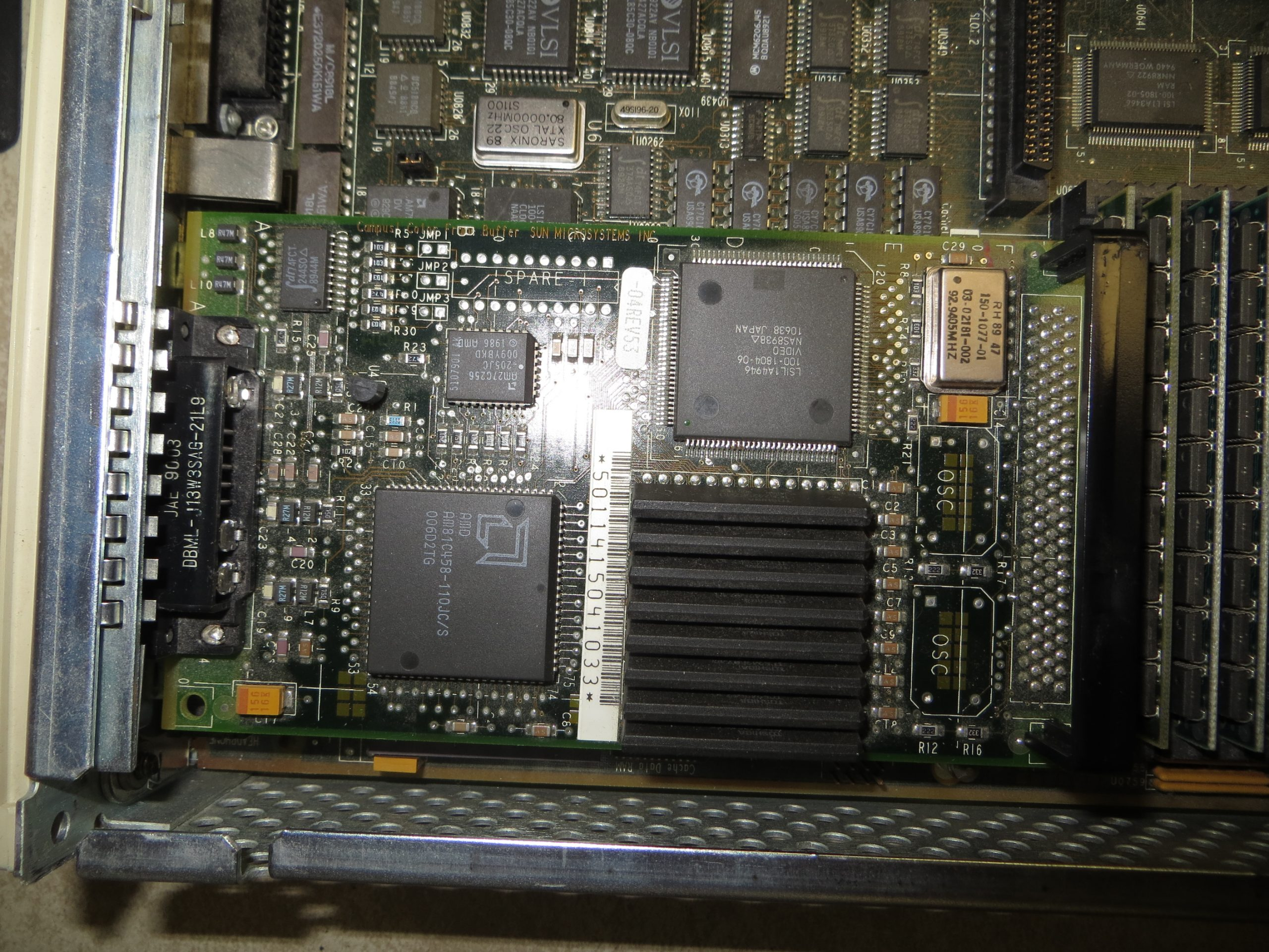 A top view of the replacement SBus color Video Card