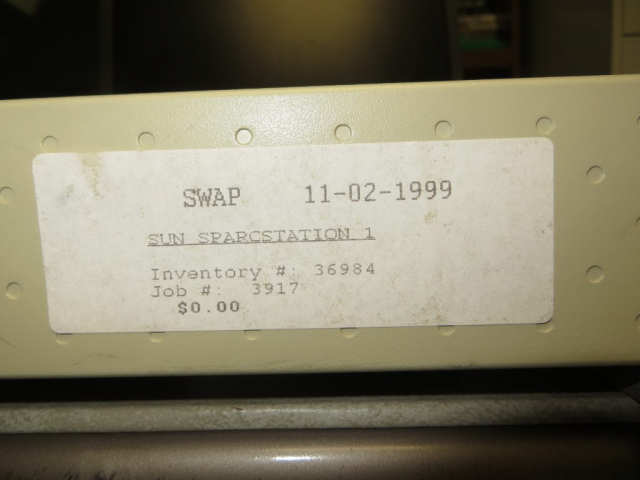 The SWAP surplus price sticker - I actually paid something for the privilege of owning this system.