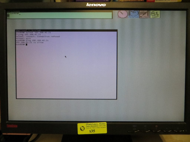 The Sun Sparcstation 1 under the SunOS 4.1.4 Sunview windowing system