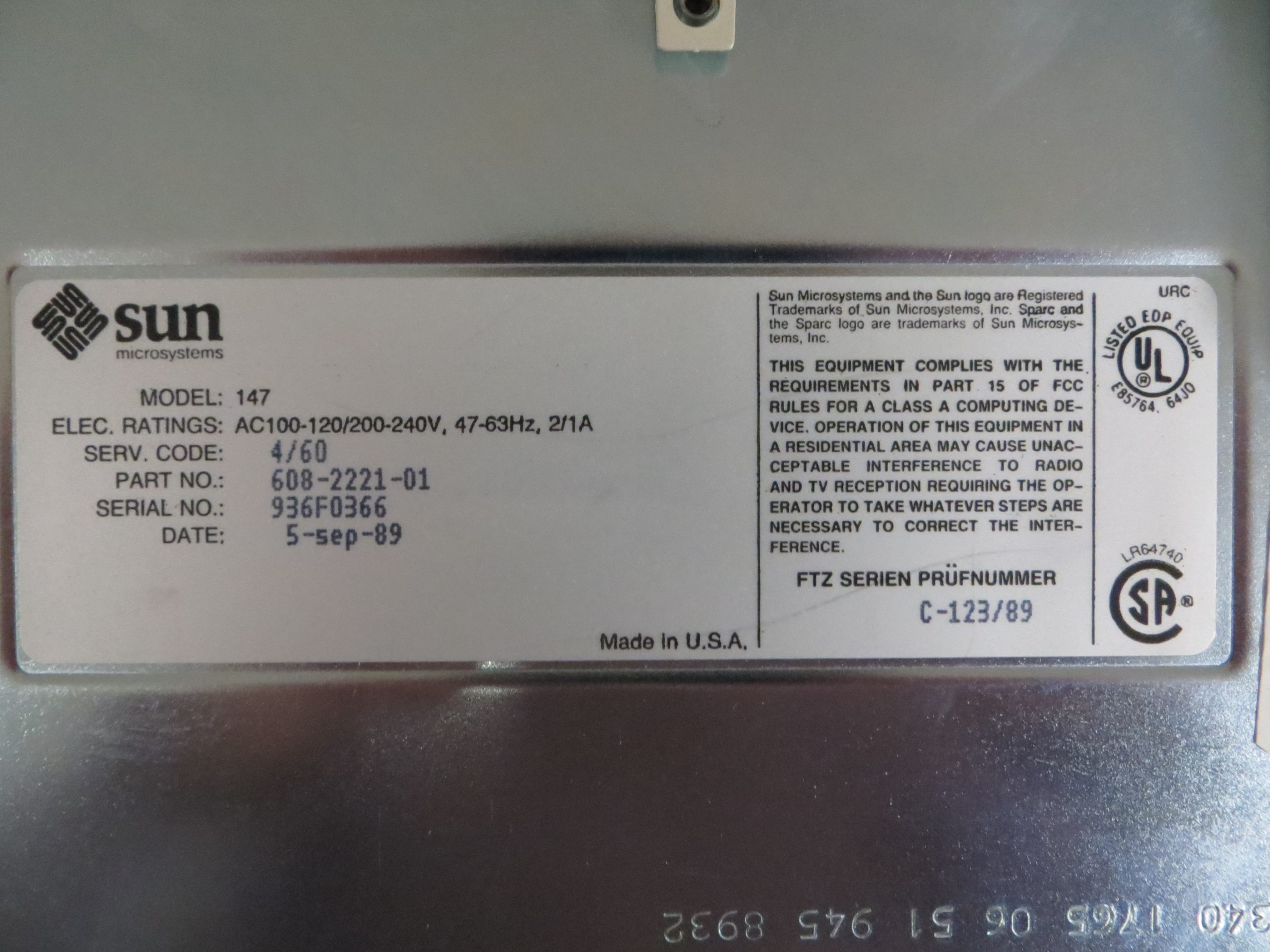 Here is the machine serial number and other manufacturing info.  Note the model is 4/60 - the other name for the Sparcstation 1.